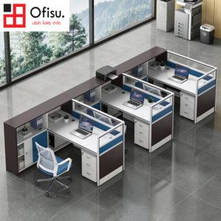 โต๊ะทำงานกลุ่ม กระจกกันเสียง มีตู้ 3 ชั้น และมีชั้นวางเคสคอมพิวเตอร์ SKU : 10118X